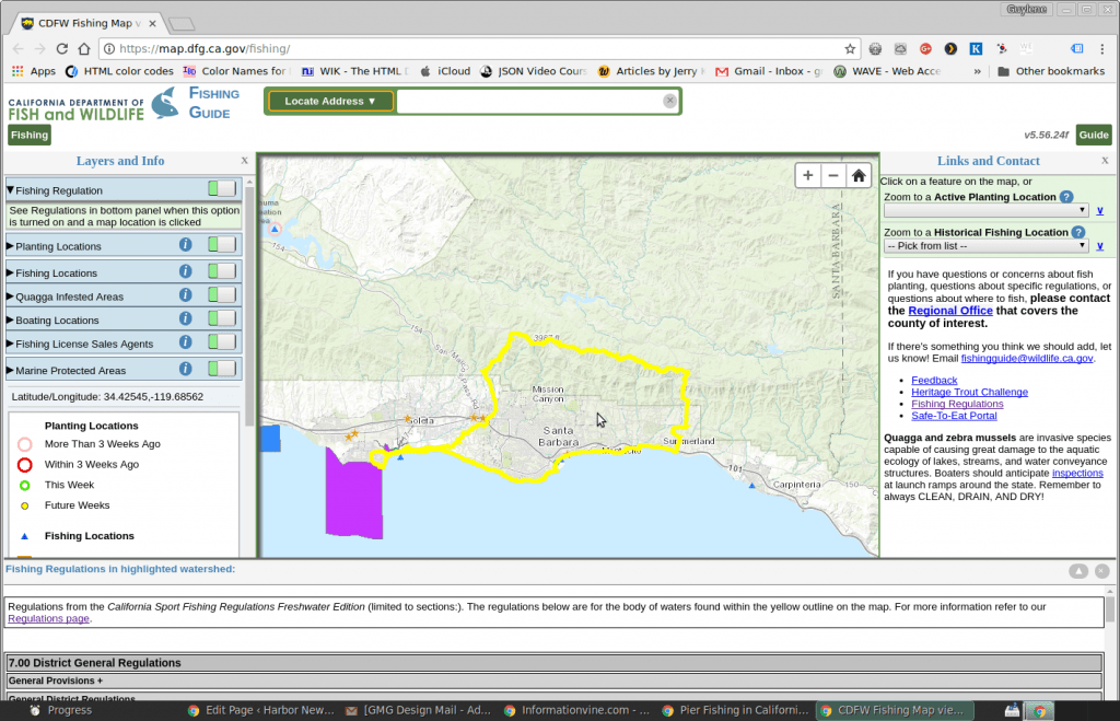 CA Dept Wildlife fishing map